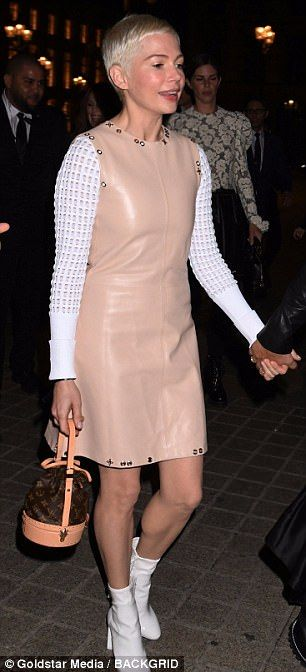 Michelle Williams looks angelic in nude leather dress | Daily Mail Online