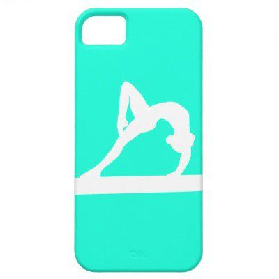 iPhone 5 Gymnast Silhouette White on Turquoise iPhone 5 Case from Zazzle.com