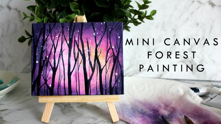 Small Canvas Painting | Pink Galaxy Forest | artbybee7 |