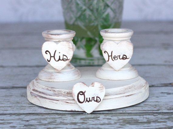 Wedding Unity Candle Holder Set Shabby Chic Decor by braggingbags, $39.99