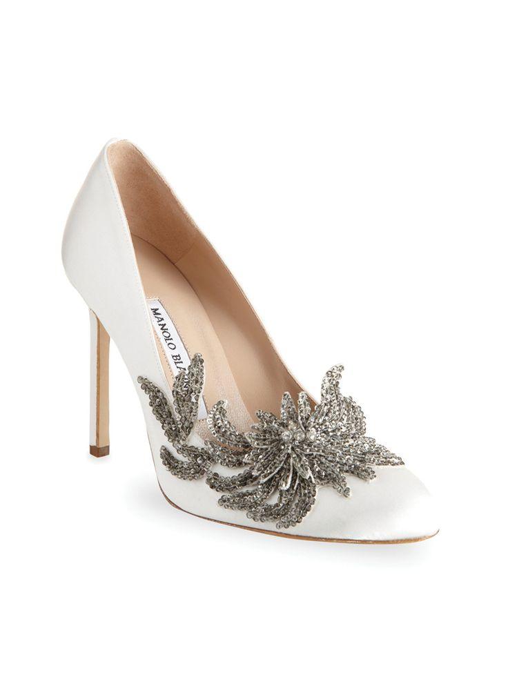#sapatosnoiva #weddingshoes #white  Manolo Blahnik Swan pumps, $1,295barneys.com