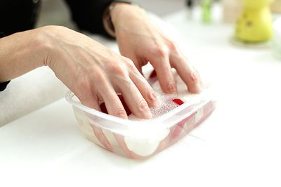 Put ½ cup of water, 1 teaspoon of 3% hydrogen peroxide and 1 tablespoon of baking soda in a small bowl. Stir well, until the baking soda dissolves. Dip your nails into the solution for 2 to 3 minutes. Repeat once every two weeks.