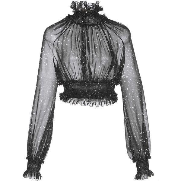 Sheer Ruched High Neck Cropped Blouse   Moda Operandi (6.635 RON) ❤ liked on Polyvore featuring tops, blouses, print blouse, polka dot crop top, sheer crop top, sheer polka dot blouse and dot blouse