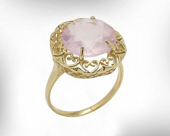 Vintage Gold Statement Ring  Rose Quartz by nuritdesignjewelry