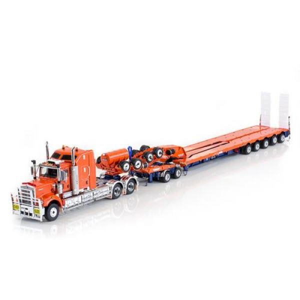 Kenworth C509 Prime Mover / 5x8 Swingwing Trailer & 2x8 Dolly in Orange By Drake - ZT09058 Other Quality 1:50 Scale Model Trucks By WSI, First Gear..