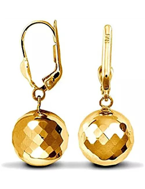 9ct Yellow Gold Single Disco Ball Drop Earrings