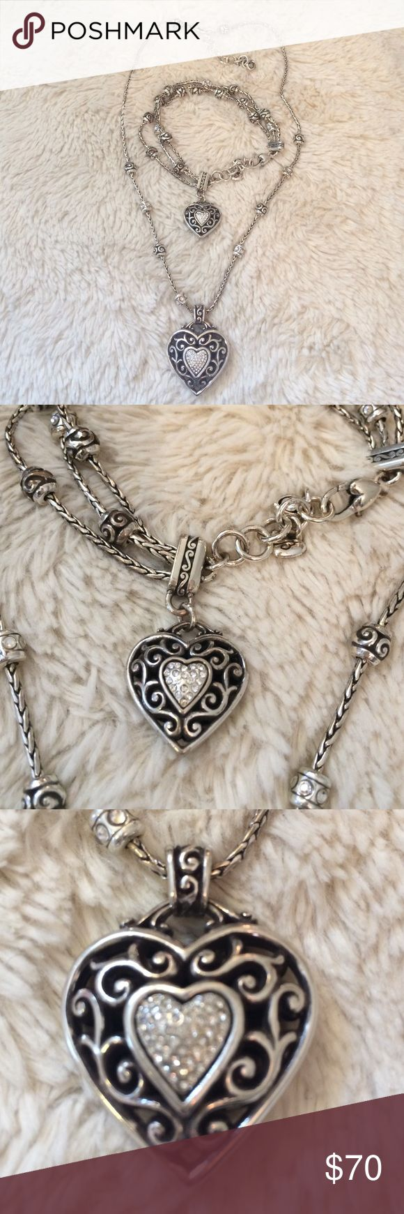 Brighton Necklace & Bracelet Reno heart necklace & bracelet. Swarovski crystals. Reversible. Lobster clasp. Heart bag included❤️No trades or lowball offers please Brighton Jewelry Necklaces