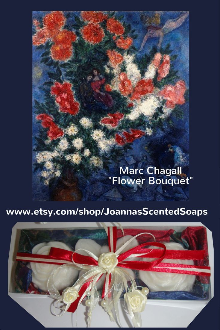 """""""I Love You Mom"""" - A soaps gift set based on the painting """"The lovers"""" of Russian-French Avant garde painter Marc Chagall (1887 - 1985). A wonderful red-white-blue gift for Mother's Day, containing 3 white Luxury Handmade Glycerin Scented Soaps and very nice decorated by ribbons with white roses."""