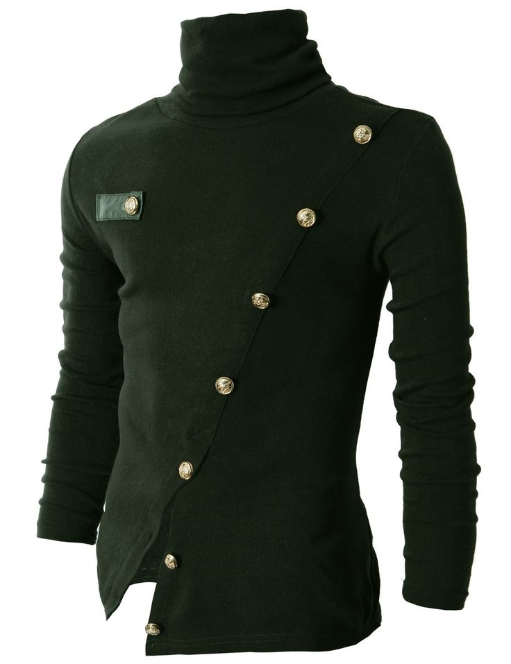 #Mens fashion Mens Turtleneck Knited T-Shirts With Gold Button Pointed (KMTTL037:DOUBLJU)
