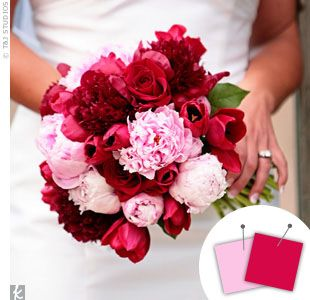 Beautiful pink and red bouquet | The Knot