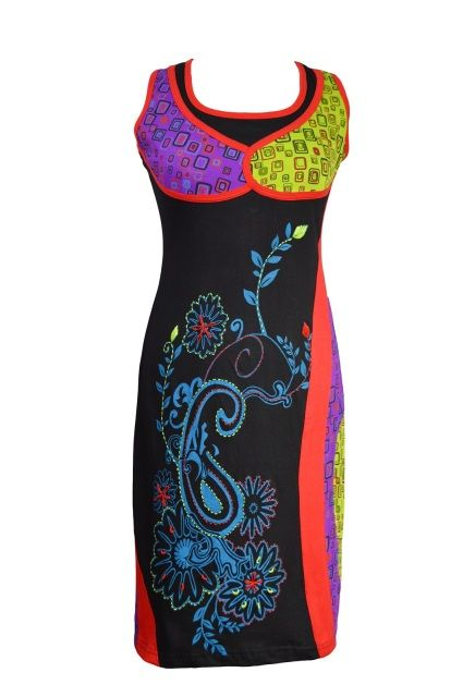 LADIES MULTICOLORED SLEEVLESS CARRY FLOWER DRESS WITH PATCH AND EMBROIDERY - CHERRY (3016)