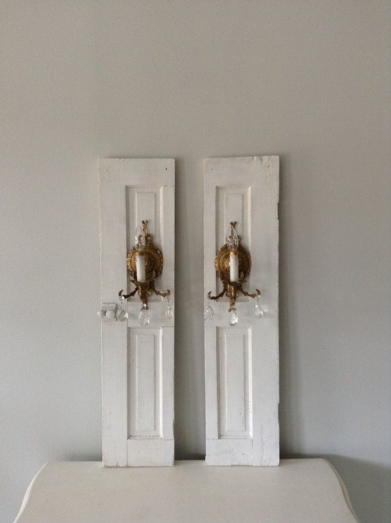 On hold for Dawn/ Antique farmhouse wooden shutters plug in vintage wall brass/ gold sconces ...