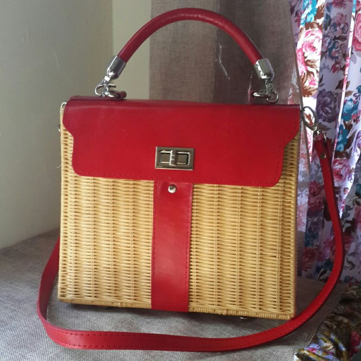 Handmade woven purse hermes kelly wicker bag red color