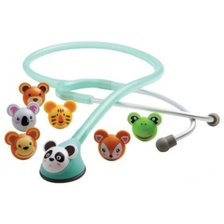 """ADC Adimals 618 Platinum Pediatric Stethoscope, 22"""". This stethoscope takes some of the edge off for your little patients. This fun and friendly stethoscope has different faces that can be attached to the bell to keep pediatric patients interested and calm during their check up."""