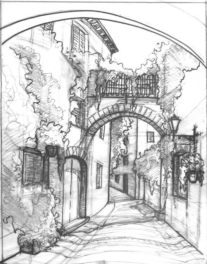 Great example of how different pencil types can add density and highlights to a sketch, further enhanced by pen outline in certain places.