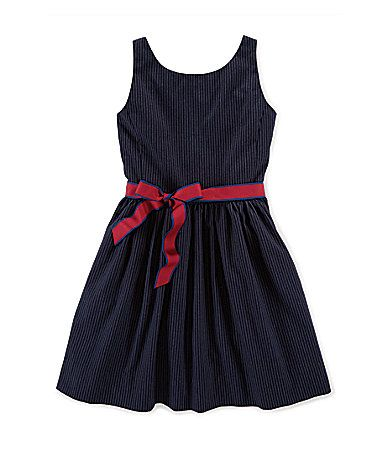 Pinstriped Fit-and-Flare Dress - Dresses Girls' Years - Ralph Lauren UK