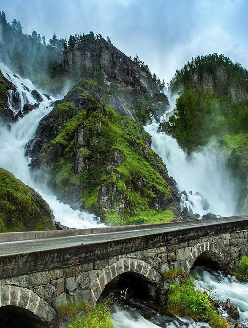 At the gorgeous Latefossen in Norway.