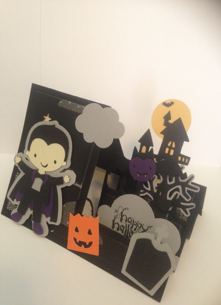 Create a friend vampire and create a critter 2 step  Halloween cricut card