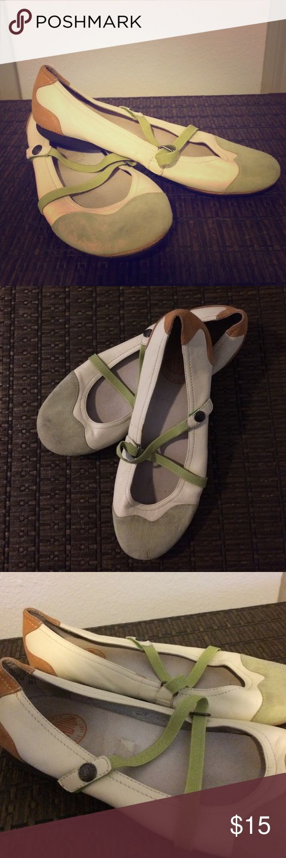 Women's Palladium Leather Ballet Flats L'Originale Palladium Depuis 1947. Casual flats with European details. Zig- zag green straps. Leather shoes with leather inner soles. Off white shoes with brown toward the back and light green on the front. These fun, versatile shoes can easily be dressed up or down. They are gently worn. Palladium Shoes Flats & Loafers