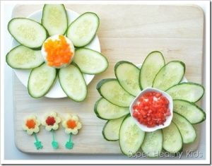 Cucumber Flowers with Yogurt Cheese Spread - use food the food from your garden to make these fun flower snacks!