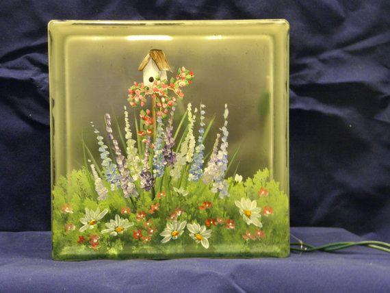 Glass Block LightBridhouse Garden by bestemancreations on Etsy, $34.00