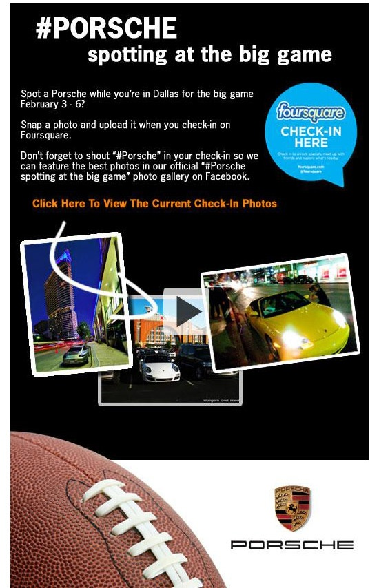 Porsche Foursquare Superbowl