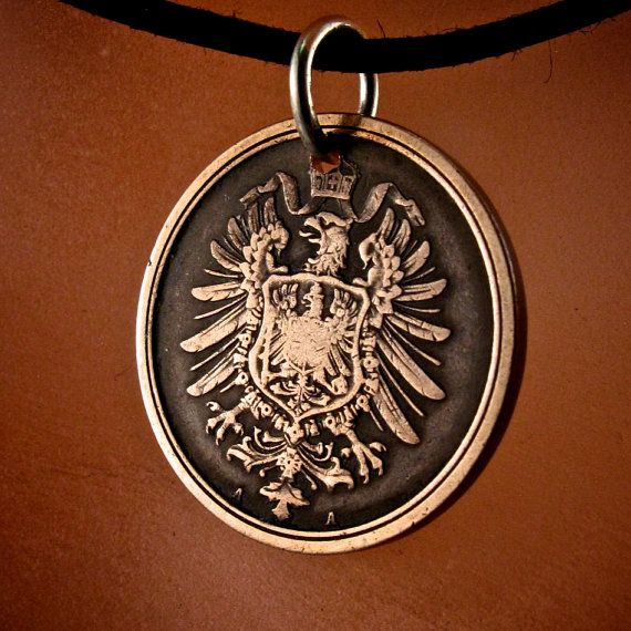 antique GERMAN COIN NECKLACE  Germany  pfennig antique coin  Deutschland Charm Pendant coin fob . choose year  No.001772