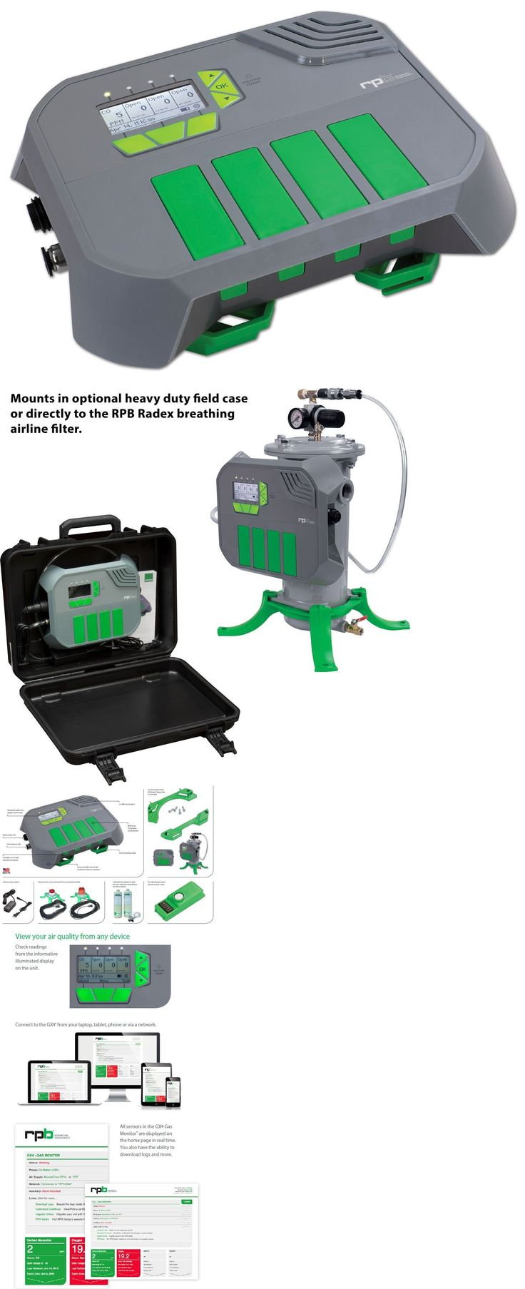 Masks Respirators and Helmets 43617: Rpb Gx4 Co Monitor With 120V Ac Adaptor, Can Detect 4 Gases Simultaneously -> BUY IT NOW ONLY: $1699 on eBay!