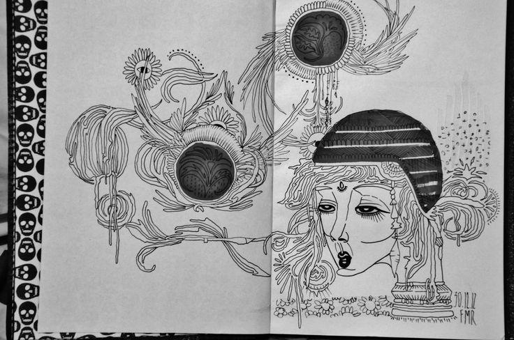 Ma Vibe  Freehand de nankin e canetinha no sketchbook . #vibrations