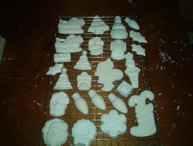 Classroom Painting Ideas ~ Ready to paint plaster christmas ornaments starts