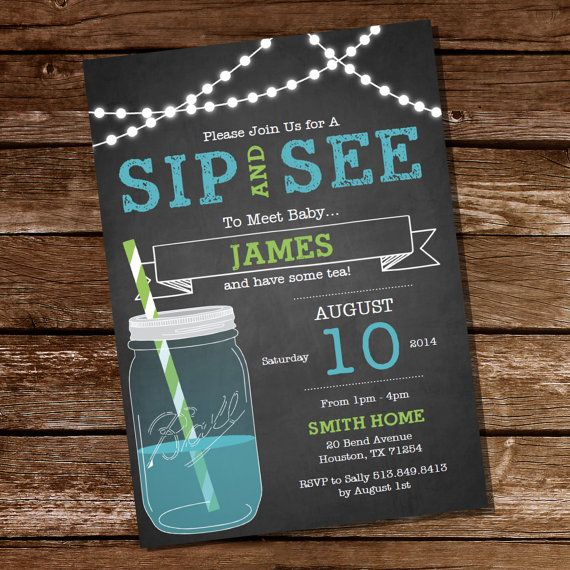Chalkboard Sip and See Invitation - Meet The Baby Invitation - Instant Download and Editable File - Personalize at home with Adobe Reader on Etsy, $5.00