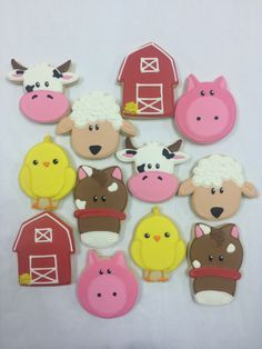 Farm Theme Cookie Favors - with Barn, Horse, Pig, Chick, Sheep, and Cow, Birthday Cookies, Baby Shower Cookies, Farm Animal Cookie Favors by ClawsonCookies on Etsy https://www.etsy.com/listing/216918532/farm-theme-cookie-favors-with-barn-horse