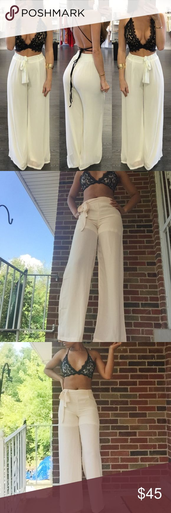 Wide Leg Pants and Bralette Set Beautiful Wide Leg Chiffon Pants and Lace Bralette Set. Off white and black. Pants are lined inside with shorts, Bralette is lined inside with satin. Fits Size XS-S. If you wear a medium or are wider in the hips, this will not fit. Pants are not stretchy. Pants Jumpsuits & Rompers