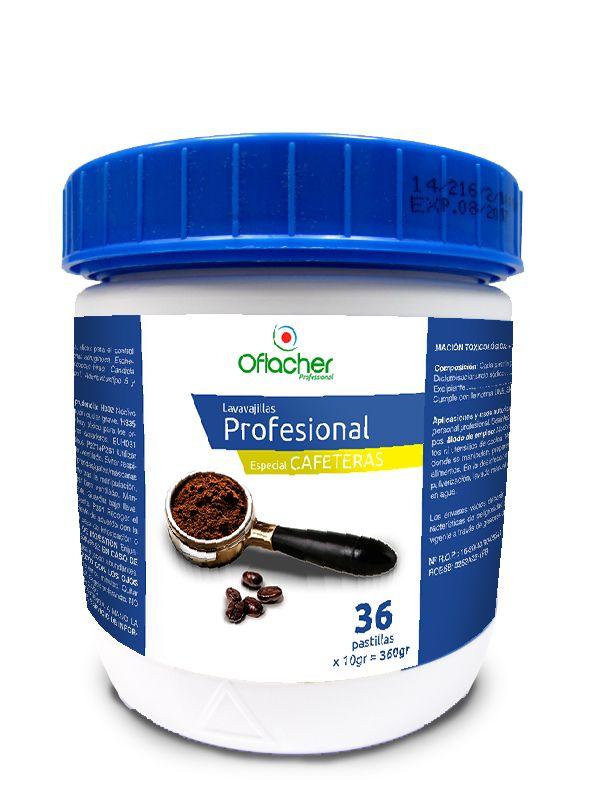 Pastillas de lavavajillas desincrustantes específicas para limpiar filtros ciegos y utensilios de cafeteras profesionales.