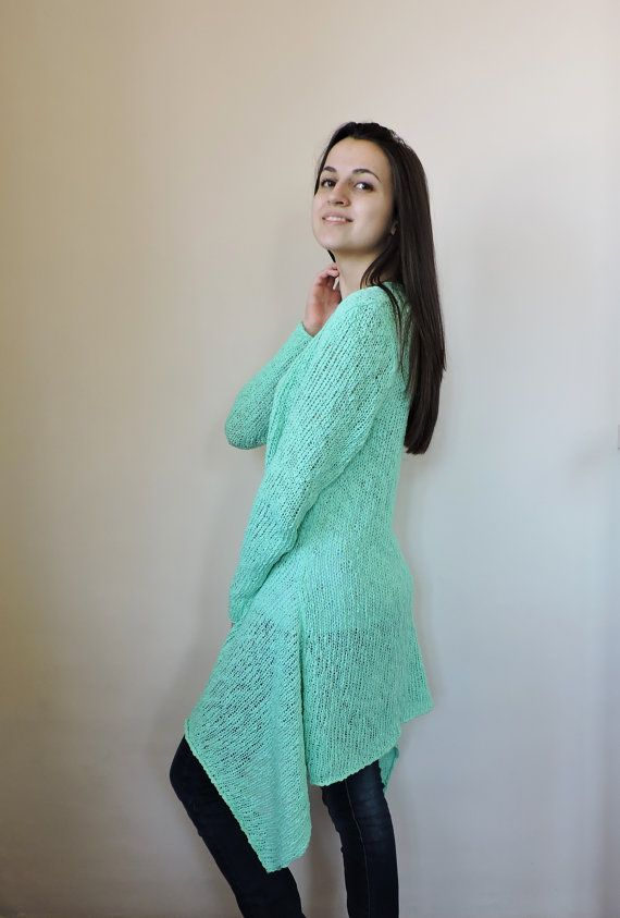 Capa de suéter verde azulado largo cardigan punto por IrensKnitting