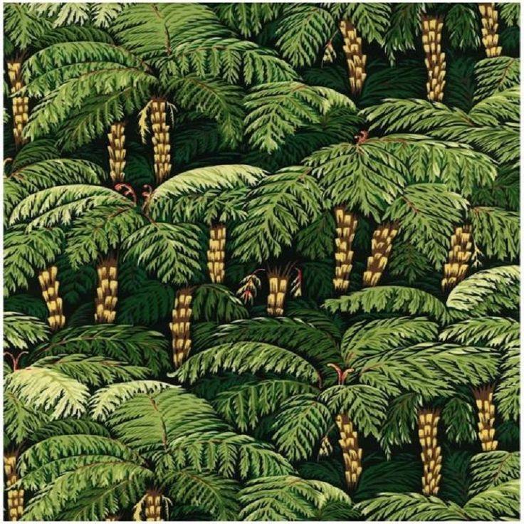 Fat Quarter Mamaku Black Tree Fern Cotton Quilting Fabric - Nutex