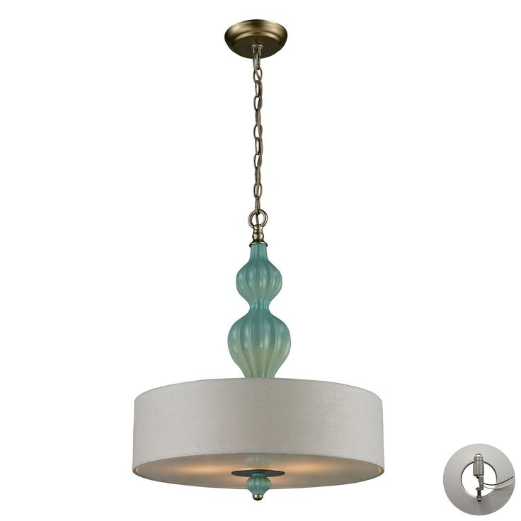 Lilliana 3 Light Pendant In Seafoam And Aged Silver - Includes Recessed Lighting Kit 31362/3-LA