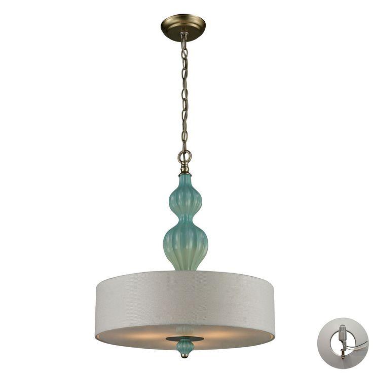 Lilliana 3 Light Pendant In Seafoam And Aged Silver - Includes Recessed Lighting Kit 31362/3-LA