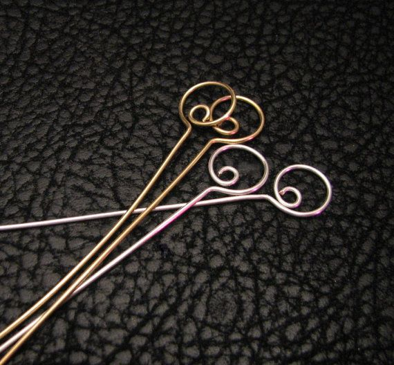 Swirl head pins eye pins beading supplies hoop by WickedlyWired