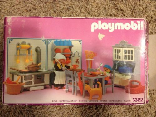 1989 Vintage Playmobil Victorian Mansion Kitchen 5322 Polly (Esther) and Peter
