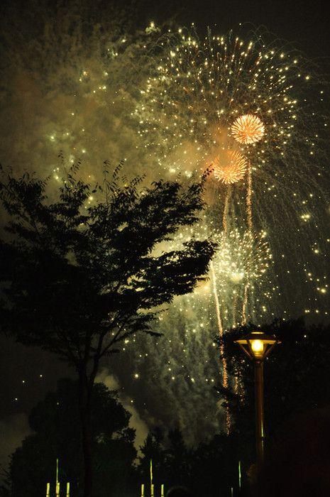 vintage-toned fireworks