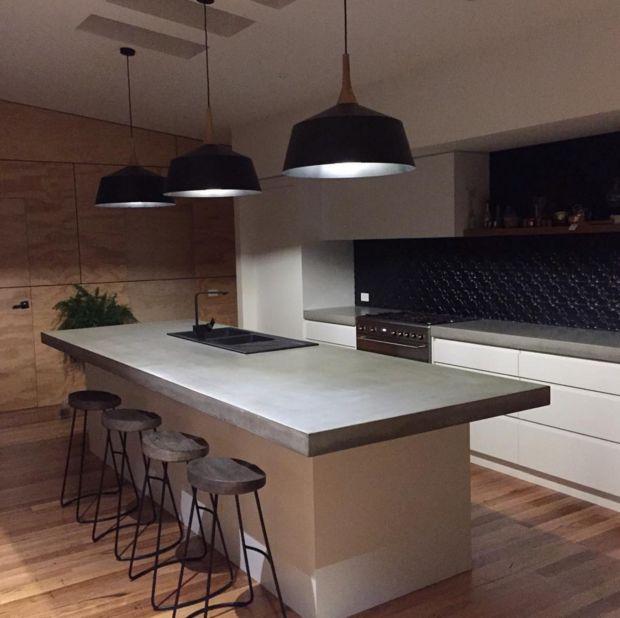 countertop ideas concrete counter in black and white kitchen