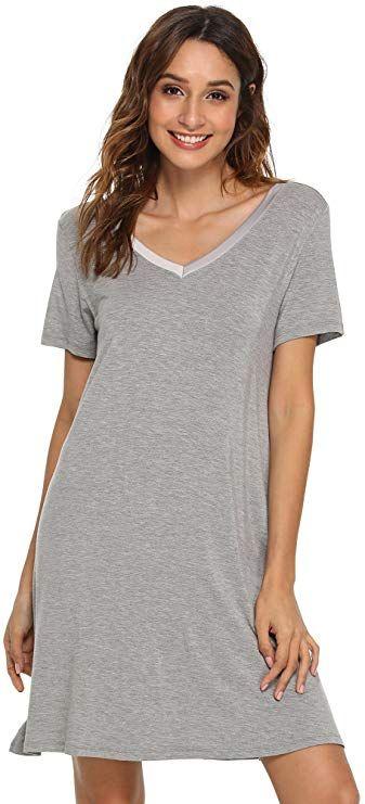 GYS Women s Short Sleeve Nightshirt V Neck Bamboo Nightgown 983367110