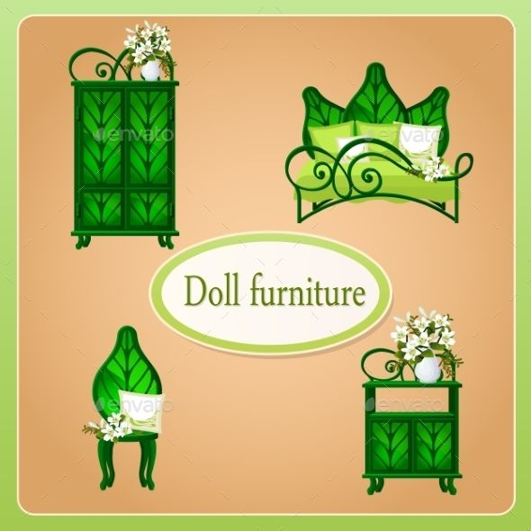 Green Eco Dollhouse Furniture, Set Of Four Objects