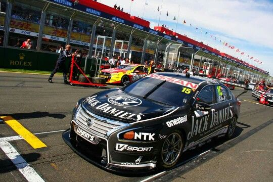 Jack Daniels Nissan V8 Supercar on the grid at the 2015 Australian Grand Prix.