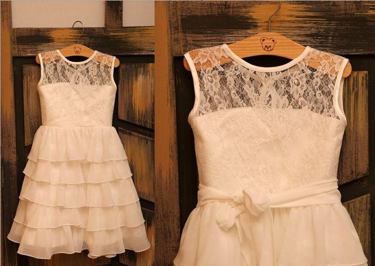 Ivory Lace Chiffon Flower Girl Dress Ruffle Layers by deepado, $43.99