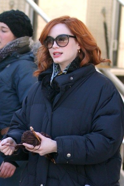 Christina Hendricks with her knitting on the set of I Don't Know How She Does It