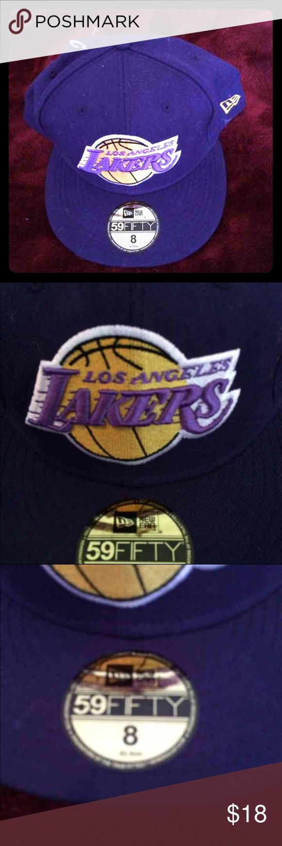 Lakers Los Angeles NEW hat size 8. New 69 era hat Lakers Los Angeles NEW hat size 8. New 69 era fitted hat. purple with yellow logo. Embroided Lakers logo in the back. 100% authentic. 100% wool. Accessories Hats