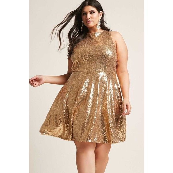 Forever21 Plus Size Sequin Open-Back Dress ($68) ❤ liked on Polyvore featuring plus size women's fashion, plus size clothing, plus size dresses, gold, sleeveless fit and flare dress, open back cocktail dress, brown cocktail dress, brown sequin dress and forever 21 cocktail dresses