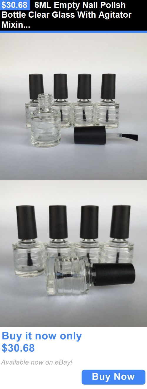 Storage and Empty Containers: 6Ml Empty Nail Polish Bottle Clear Glass With Agitator Mixing Balls Wholesale BUY IT NOW ONLY: $30.68